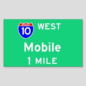 Mobile AL, Interstate 10 West Sticker (Rectangular