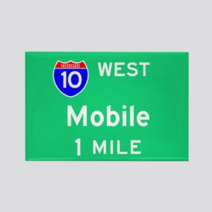 Mobile AL, Interstate 10 West Rectangle Magnet