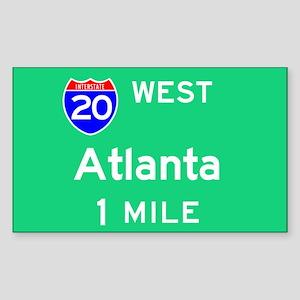 Atlanta GA, Interstate 20 West Sticker (Rectangula