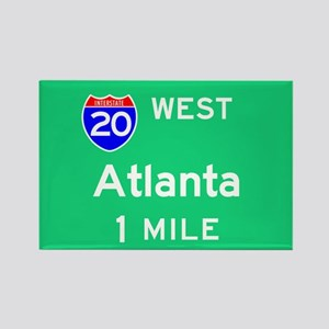 Atlanta GA, Interstate 20 West Rectangle Magnet