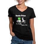 Scooter Frog Women's V-Neck Dark T-Shirt