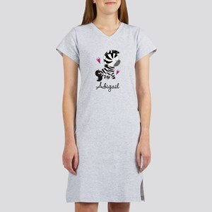 Zebra Zoo Animal Personalized Women's Nightshirt