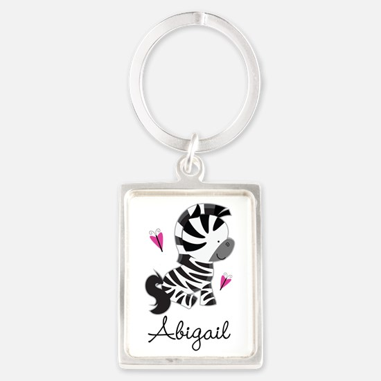 Zebra Zoo Animal Personalized Portrait Keychain