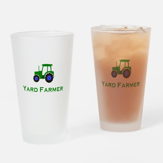 Funny Green tractor Drinking Glass