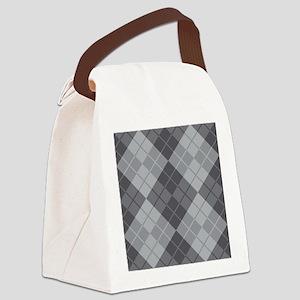 Grey Argyle Canvas Lunch Bag