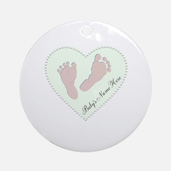 Baby Girl's Name in Heart Ornament (Round)