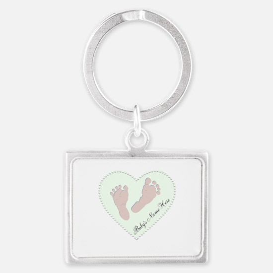 Baby Girl's Name in Heart Landscape Keychain