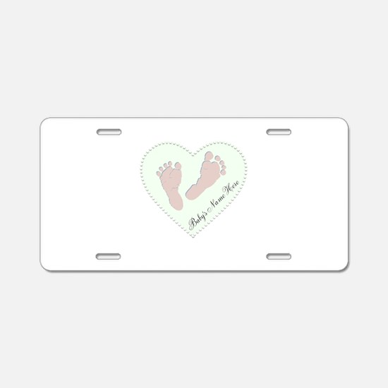 Baby Girl's Name in Heart Aluminum License Plate