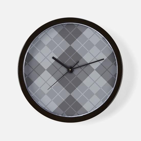 Grey Argyle Wall Clock