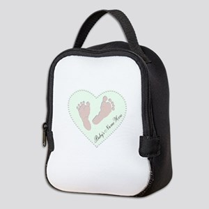 Baby Girl's Name in Heart Neoprene Lunch Bag