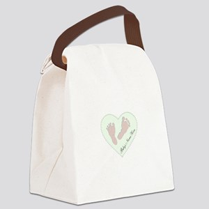 Baby Girl's Name in Heart Canvas Lunch Bag