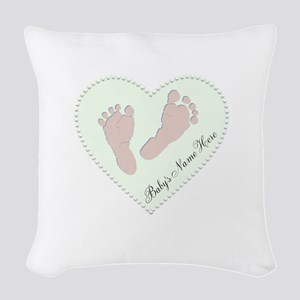 Baby Boys Name in Heart Woven Throw Pillow