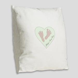 Baby Boys Name in Heart Burlap Throw Pillow