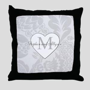 Romantic Monogram Throw Pillow