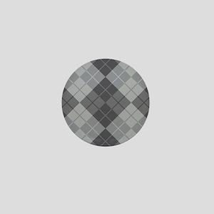 Grey Argyle Mini Button