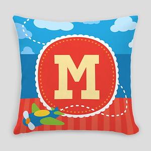 Cute Airplane Kids Monogram Everyday Pillow