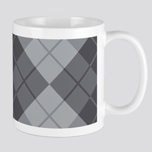 Grey Argyle Mugs