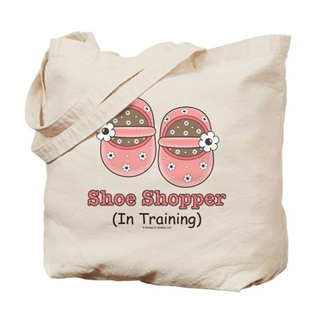 Pink Brown Baby Shoes Tote Bag