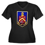 USS DUNCAN Women's Plus Size V-Neck Dark T-Shirt