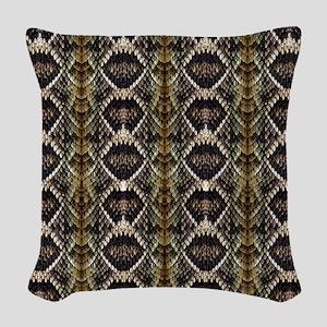 Diamondback Rattlesnake Woven Throw Pillow