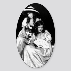 lillian dorothy gish sisters black  Sticker (Oval)