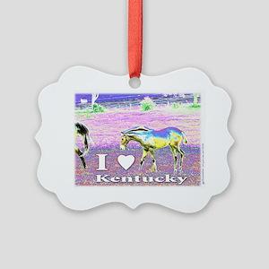 I heart Kentucky ~ horse art Picture Ornament
