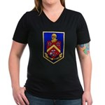USS DUNCAN Women's V-Neck Dark T-Shirt