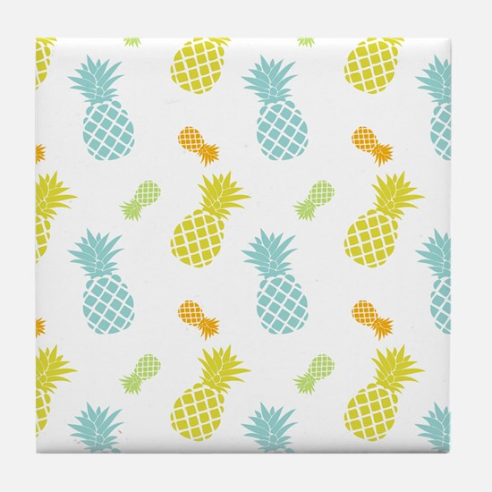 Colorful Pineapples Pattern Tile Coaster