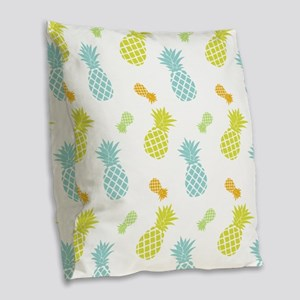 Colorful Pineapples Pattern Burlap Throw Pillow
