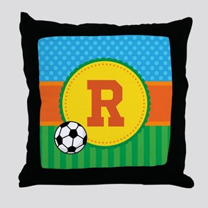 Cute Personalized Soccer Monogram Throw Pillow