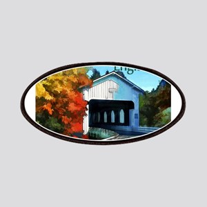 White Covered Bridge Colorful Autumn New Patches