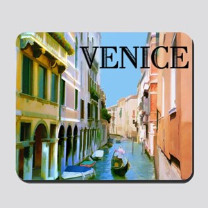 Gondolier in Canal in Venice Mousepad