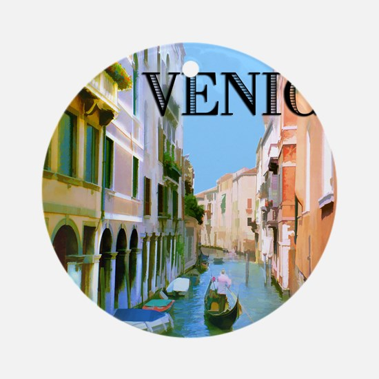 Gondolier in Canal in Venice Ornament (Round)