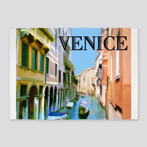Gondolier in Canal in Venice 5'x7'Area Rug