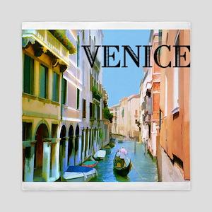 Gondolier in Canal in Venice Queen Duvet