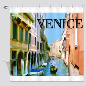 Gondolier in Canal in Venice Shower Curtain