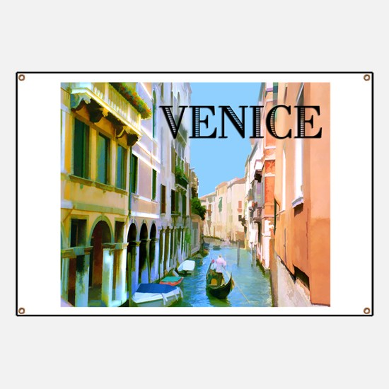 Gondolier in Canal in Venice Banner