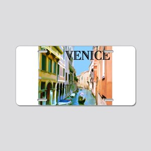 Gondolier in Canal in Venic Aluminum License Plate