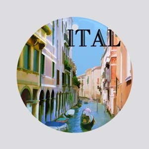Gondolier in Canal in Venice ITAL Ornament (Round)