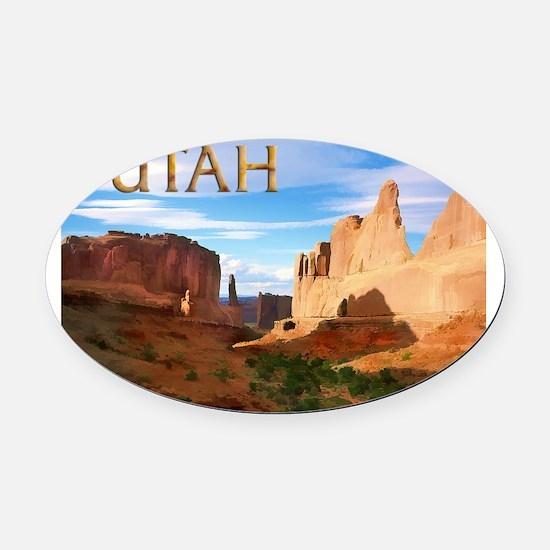 Utah smaller Oval Car Magnet