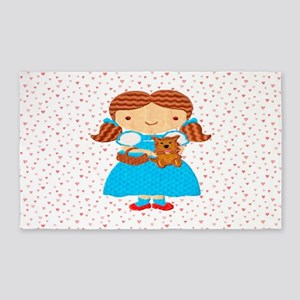 Girl with Puppy & Hearts Area Rug
