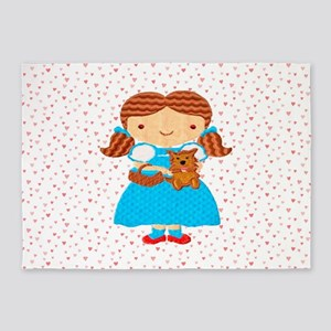 Girl with Puppy & Hearts 5'x7'Area Rug