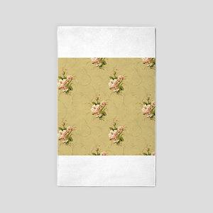 vintage beige victorian floral Area Rug