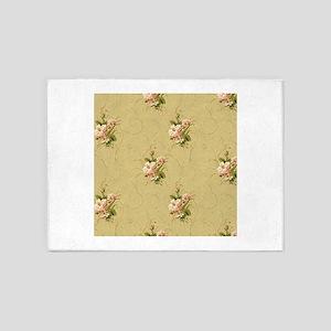 vintage beige victorian floral 5'x7'Area Rug