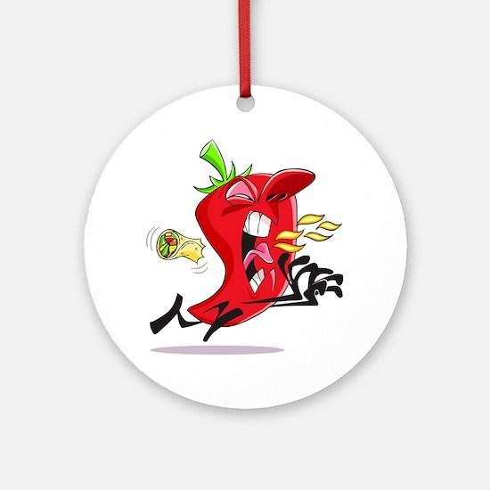 Chilli Pepper Breathing Fire Round Ornament