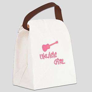 Pink Ukulele Canvas Lunch Bag
