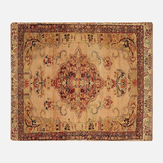Antique Kerman flowered Pattern Throw Blanket
