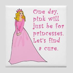 Pink Princess Find a Cure Tile Coaster