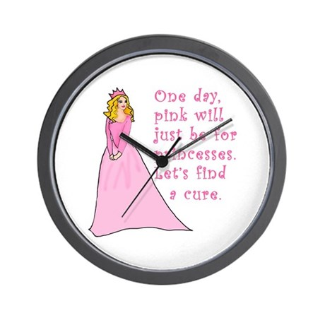 Pink Princess Find a Cure Wall Clock