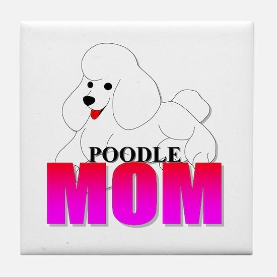 White Poodle Mom Tile Coaster